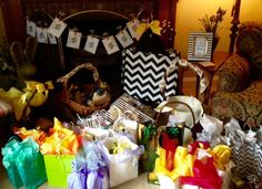 Gift central for My Favorite Things Party. I asked guests to wrap their items for the exchange to create more intrigue and excitement.