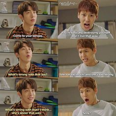- volte aos seus sentidos,  você basicamente está de destruindo,  não viva assim - oque há de errado com a bok-joo? - ela come muito,  e ela é muito forte - oque há de errado com isso? eu acho que ela é mais sexy assim. Weightlifting Fairy Kim Bok Joo Funny, Weightlifting Kim Bok Joo, Weighlifting Fairy Kim Bok Joo, Nam Joo Hyuk Lee Sung Kyung, Korean Drama Funny, Kim Book, Good Morning Call, Kdrama Memes, Sexy