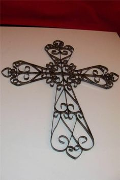 WaLL CrOss WRougHt IrOn CroSs HoMe DeCor Shabby by villagefrippery ...