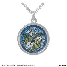 Calla Lilies Stain Glass Look Sterling Silver Necklace