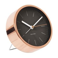 Classic Karlsson station style alarm clock with copper-plated steel case, copper second hand and black dial. A rare piece of beautiful metalwork and modern Dutch design. Comes with silent sweep movement (no ticking).