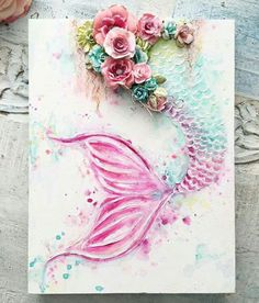 ・・・ A custom made Mermaid Tail canvas.this time with pink Sooooo pretty Mermaids and unicorns 29 DIY Upcycle Wine Cork Craft Ideas to Beautify your Interior - Diy Food Garden. Mixed media inspiration for mermaid art Sirènes / Mermaids / Creature o Upcycled Crafts, Diy And Crafts, Arts And Crafts, Mermaid Bedroom, Baby Bedroom, Bedroom Decor, Art Diy, Mermaid Art, Mermaid Paintings