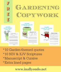 Are you planting a garden this year? Check out this fun and {free} Gardening Copywork over on the blog. 10 Garden themed quotes & 10 Scriptures (NIV & KJV).