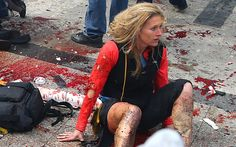 A woman sitting in shock surrounded by blood in the wake of the Boston   marathon bombs has been identified as Nicole Gross.
