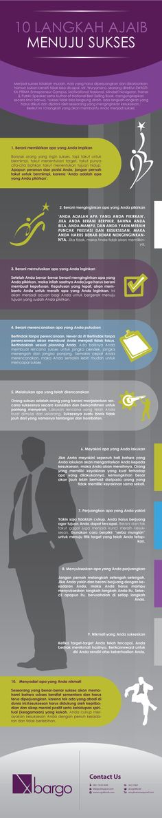 10 Langkah Ajaib Menuju Sukses Self Improvement, Productivity, Infographic, Career, Knowledge, Lettering, Words, Business, Quotes