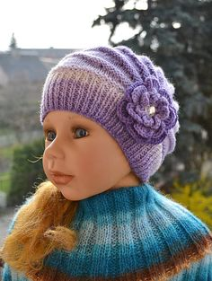 Knitted Children's hat/cap purple cream color  by DosiakStyle