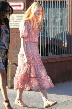 Elle Fanning : Pink floral dress : Flat-Chested LL