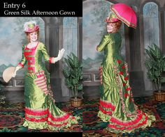 Costume Contest USA Entry 6.) Dress: 1881 Green silk Afternoon Gown with ...    bustledress.com