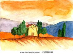 Italy Tuscany. Hand drawn watercolor painting landscape - stock photo