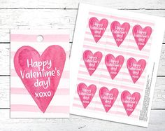 Happy Valentines Day Tags. Valentines Day. Love Tags. Heart Love Tag, Party Printables, Happy Day, Happy Valentines Day, Unique Jewelry, Handmade Gifts, Etsy, Tags, Heart