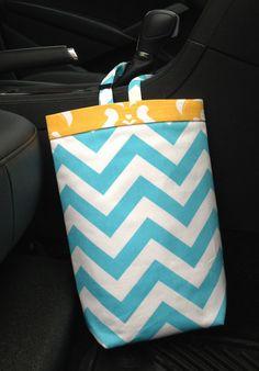Car Trash Bag Chevron Girlie Blue by GreenGoose on Etsy