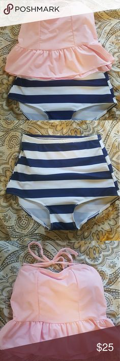 Pink/blue/white high wasted swim suit Pink/blue/white high wasted swim suit. Never been worn before but the tags were taken off and kept, so they will be sent with. Comes with strings to tie behind your neck, can be removed and be used as a strapless swim suit. Will send strings with. Will be washed before shipping :) Jindaiyi Swim Bikinis