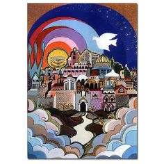 Jerusalem in the Sky Signed Print by Israeli artist, Bracha Lavee. Available in two sizes.