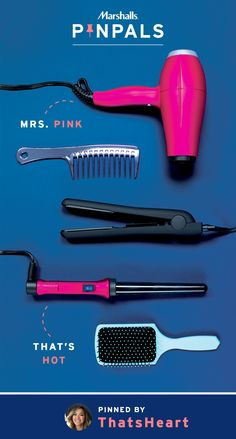 Being polished from head to toe means your hair should be on its best behavior too. Not easy, but with the right straightener, curling wand, and a top-notch blow dryer, anyone's mop can be heated into submission. YouTube star, Heart, was so fond of these hot pink hair tools that she put them in her Pin Pals box. Inspired by this pin? Save it and you could be surprised by a Pin Pals box tailored to your style! Now that's a true #MarshallsSurprise. #Contest rules…