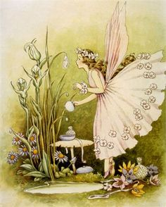 A graceful fairy prepares for a lovely tea party in the forest in this Powder Puff Fairy Vintage Artwork.   Delight your kid's room or nursery with this enchanting vintage wall art!