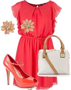 """""""Coral Chiffon Paradise - Plus Size Outfit"""" by pasazzplussizes on Polyvore"""