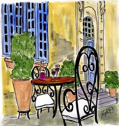 Fifi Flowers Painting du Jour Gallery: Provence Wine