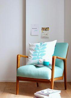 Sessel Retro türkis chair blue