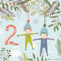 Flora Waycott Christmas Advent DAY 2 - Illustration of little Scandinavian doll decorations I bought in Norway a few years ago. They make an appearance on my Christmas tree every year! xxx