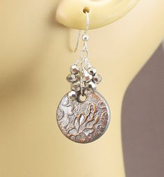 Unique Silver Earrings Lace Textured Bronze Sterling Silver Crystal Dangle Earrings Floral Shabby Boho Chic