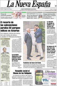 Los Titulares y Portadas de Noticias Destacadas Españolas del 27 de Agosto de 2013 del Diario La Nueva España ¿Que le pareció esta Portada de este Diario Español?