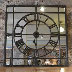 Mirrored 60 Quot Aged Metal Round Wall Roman Clock Farmhouse