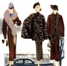 From Modes et Travaux in the 1930s | French fashion illustrations | daytime dressing | elegant coats and furs