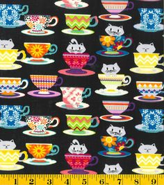 Novelty Cotton Fabric-Kittens In Cups