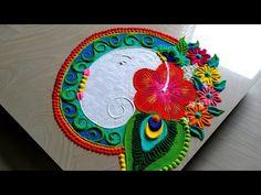 Ganesh chaturthi rangoli/ गणेश रंगोली with peacock design Ganesh Design, Art Forms Of India, Peacock Rangoli, Rangoli Colours, Special Rangoli, Peacock Design, Simple Rangoli, Rangoli Designs, Ganesha