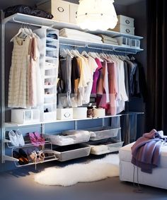 Open closet ideas ikea storage system super affordable and great for first apartment space future home closet closet system home decor store name ideas Ikea Algot, Wardrobe Storage, Walk In Wardrobe, Walk In Closet, Closet Space, Tiny Closet, Clothes Storage, Dream Closets, Closet Bedroom