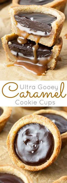 Chewy cookie cups loaded with gooey caramel and topped with a silky dark chocolate ganache.   livforcake.com