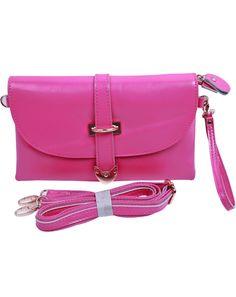 Rose Red Vintage Buckle Leather Shoulder Bag US$35.90