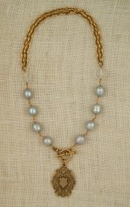 Claire necklace with gray freshwater pearls, vintage crystals and Blackforest Medal  www.exvotovintage.com