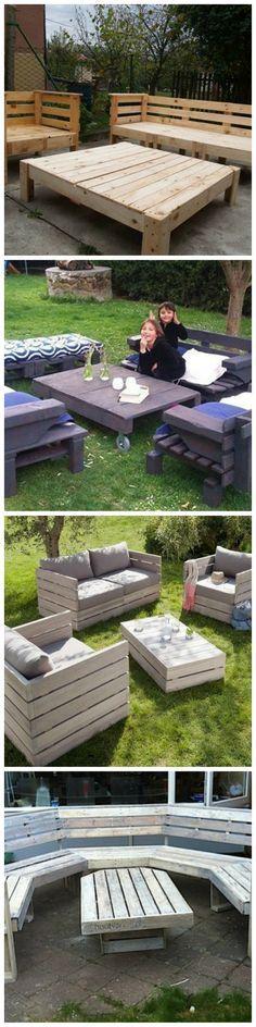 Mobilier de jardin avec des palettes