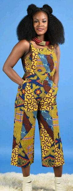 "NEW VOK Dungarees - African print clothing. Handmade item Materials: cotton, wax print, African Print, Ankara print. African print dungarees 2 side pockets invincible back zipper 100% cotton wax print with no stretch . model is 5""7 tall. Ankara style, african print overalls, two-piece african outfit, african fashion, fashion blogger (affiliate)"