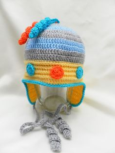Crocheted baby hat with earflapscrocheted by Svetlanababyknitting, $26.00