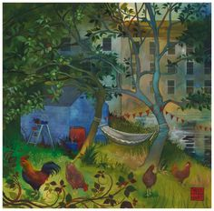 The Hammock - new print in stock by Kate Lycett as part of our exhibition WATER & LIGHT Exciting Times Ahead, Lost Gardens Of Heligan, Garden Frame, City Farm, Water Lighting, Naive Art, Night City, Large Painting, New Print