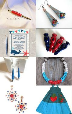 Lovely turquoise and red! by Mary on Etsy--Pinned with TreasuryPin.com