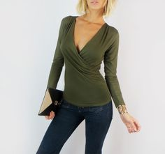 OLIVE GREEN SEXY V-NECK WRAP SURPLICE LONG SLEEVE FITTED KNIT SHIRT BLOUSE TOP S #FashionTwenty #KnitTop #Casual