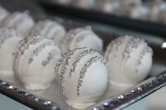 Cake balls at a Silver Christmas Party #silver #christmastreats