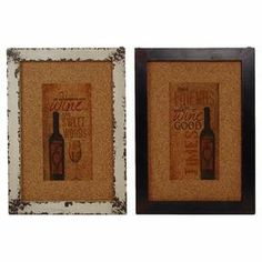 """Cork wall decor with a distressed metal frame and wine-inspired motif.   Product: 2 Piece wall decor setConstruction Material: Metal and corkColor: Distressed brown and white framesDimensions: 20"""" H x 14.25"""" W x 0.75"""" D each"""