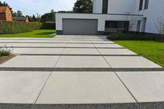 Landscaping Around House, Landscaping On A Hill, Driveway Landscaping, Modern Landscaping, Driveway Ideas, Modern Driveway, Driveway Design, Concrete Patios, Driveway Materials
