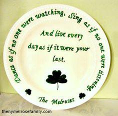 Shamrock and Irish Blessing Plate @russej10 #plate #stpattys #stpatricksday