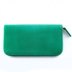 Bethge | Wallet made of green coloured leather. Lizard style.
