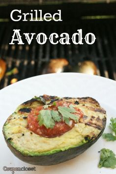 Grilled Avocado Recipe - easy and delicious! Do not use Garlic Salt, substitute with real garlic