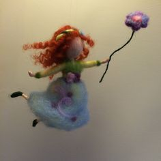 Needle felted fairy, Waldorf inspired, Wool Spring dancing fairy with flower, Home decor,Gift, Mobile, Art doll  Collectible doll by DreamsLab3 on Etsy https://www.etsy.com/listing/227028785/needle-felted-fairy-waldorf-inspired