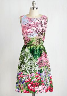 The Realism Deal Dress - Daytime Party, Mid-length, Cotton, Woven, Multi, Novelty Print, Print, Fit & Flare, Sleeveless, Spring, Better