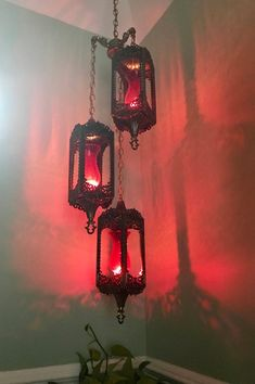 Vintage GIM Chandelier | Brass Moroccan Style Swag Lamp| Hollywood Regency Chandelier| Gothic Style