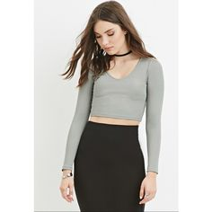 Forever 21 Forever 21 Women's  V-Neck Ribbed Crop Top ($9.90) ❤ liked on Polyvore featuring tops, sweaters, v-neck tops, vneck sweater, vneck tops, forever 21 tops and ribbed sweater