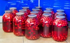 Home canning: large glass cylinders with cherry compote. Cherry Compote, Home Canning, Mason Jars, Glass, Handmade, Bakken, Essen, Recipies, Hand Made